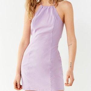 UO Maxine Linen Halter Bodycon Dress, Lavender